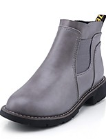 Women's Shoes  Low Heel Round Toe / Closed Toe Boots Office & Career / Dress / Casual Black / Brown / Gray
