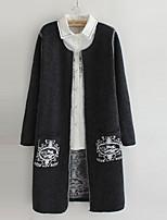 Women's Print Gray Cardigan , Casual Long Sleeve
