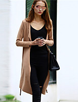 Women's Solid Brown Trench Coat , Casual Long Sleeve Suede