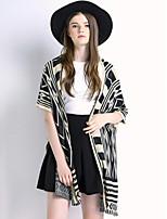 Women's Geometric Black Cardigan , Casual Short Sleeve