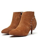 Women's Shoes Suede Cone Heel Bootie Boots Casual Black / Brown