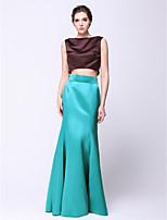 Formeller Abend Kleid - Mehrfarbig Satin - Meerjungfrau-Linie / Mermaid-Stil - bodenlang - U-Boot-Ausschnitt