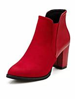 Women's Shoes Chunky Heel Comfort Boots Outdoor Black / Red