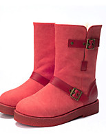 Scarpe Donna - Stivali - Tempo libero / Casual - Stivali da neve - Piatto - Di pelle - Nero / Marrone / Rosso / Grigio