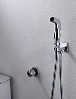 Bathroom/Toilet Chrome Shattaf Bidet Sprayer Gun, With Wall Mounted Thermostatic  Faucet Valve And 150 cm Hose