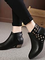 Chaussures Femme - Extérieure - Noir / Bordeaux - Talon Bas - Confort - Bottes - Similicuir