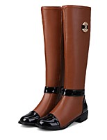 Women's Shoes Leatherette Low Heel Fashion Boots Boots Office & Career / Dress / Casual Black / Brown / White