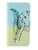 Feather Pattern PU Leather Material Flip Card  for Samsung Galaxy Note 5/4/3