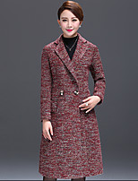 Women's Color Block Red Coat  Vintage  Casual Long Sleeve Fleece