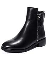 Women's Shoes Leather Chunky Heel Riding Boots / Closed Toe Boots Outdoor / Office & Career  / Dress / Casual Black