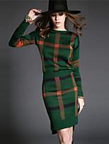 Women's Plaid Blue / Red / Green Dress , Sexy Long Sleeve