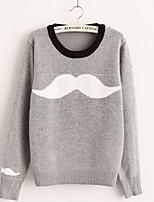 Women's Color Block Gray Korean Style Cute Pullover , Casual Long Sleeve