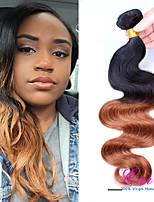 extensiones de cabello ombre peruano más baratos dos tonos de color # 1b / 30 onda del cuerpo peruano del pelo ombre Virgen teje la onda