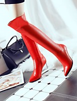 Women's Shoes Sheepskin Wedge Heel Pointed Toe / Closed Toe Boots Office & Career / Dress / Casual Black / Red