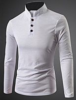 Men's Long Sleeve Polo , Cotton Blend Casual Pure
