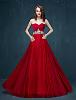 Formal Evening Dress - Burgundy A-line Sweetheart Sweep/Brush Train Tulle
