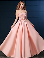 Formal Evening Dress - Blushing Pink A-line Sweetheart Floor-length Satin
