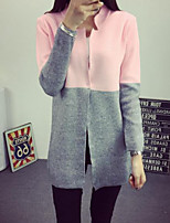 Women's Patchwork Blue / Pink / Gray Cardigan , Casual Long Sleeve