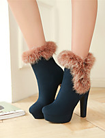 Women's Shoes Chunky Heel Round Toe / Closed Toe Boots Office & Career / Dress / Casual Black / Blue / Brown / Burgundy