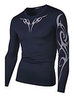 Men's Fashion Dragon Print Breathable Sport Round Collar Long-Sleeve T-Shirt
