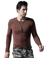 Men's Long Sleeve T-Shirt  Cotton  Elastic Casual  Sport Pure