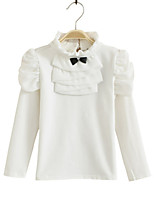 Girl's Pink / White Tee , Bow Cotton Spring / Fall