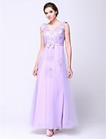 Formal Evening Dress - Lavender A-line V-neck Ankle-length Lace / Tulle