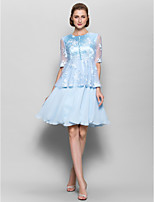 A-line Mother of the Bride Dress - Sky Blue Knee-length Half Sleeve Chiffon / Lace