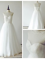 A-line Wedding Dress - Ivory Sweep/Brush Train Jewel Lace / Tulle