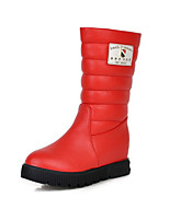 Women's Shoes Leatherette Low Heel Round Toe Boots Casual Black / Red / White