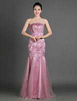Trumpet/Mermaid Mother of the Bride Dress - Pearl Pink Floor-length Satin / Tulle