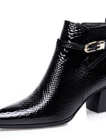 Women's Shoes Leatherette Chunky Heel Fashion Boots Boots Outdoor / Casual Black