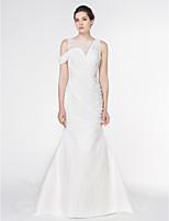 Lan Ting - Trumpet/Mermaid Wedding Dress - Ivory Watteau Train Bateau Chiffon / Lace