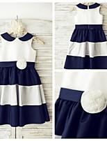 שמלה לנערת הפרחים  - קו A - באורך ברך - ללא שרוולים - טפטה