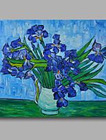 prêt à accrocher étiré peinture à l'huile toile van peint à la main gogh vase repro avec iris bleus un panneau
