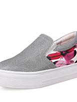 Calçados Femininos - Mocassins - Anabela / Plataforma / Creepers / Conforto / Arrendondado - Anabela - Preto / Branco - Gliter / Courino -
