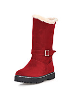 Women's Shoes Leatherette Low Heel Snow Boots / Round Toe Boots Casual Black / Red / Beige
