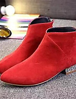 Women's Shoes Low Heel Pointed Toe Boots Casual Black / Red