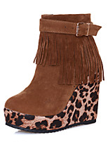 Women's Shoes Leatherette Wedge Heel Wedges / Round Toe Boots Outdoor /  Casual Black / Brown / Red / Khaki