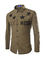 Men's Fashion Casual Letters/Star Print Cotton Shirt
