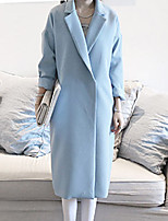Women's Solid Blue / Black Trench Coat , Vintage / Casual / Cute / Party Long Sleeve Polyester