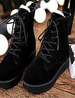 Women's Shoes Fleece Platform Round Toe Boots Casual Black