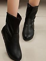 Zapatos de mujer - Tacón Plano - Botines - Botas - Casual - Semicuero - Negro / Blanco