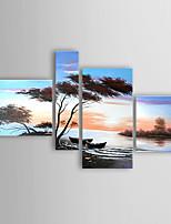 pintura a óleo paisagem à beira-mar conjunto de quatro telas pintadas a mão esticada com enquadrado pronto para pendurar