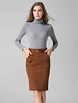 Women's Solid Black / Yellow / Gray Skirts , Casual / Work Knee-length