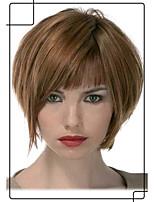 populares mano peluda corta atada -Top sin tapa peluca de mujer virgen humano remy
