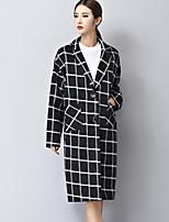 Women's Check Black Coat  Vintage  Casual Long Sleeve Fleece