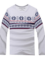 Fashion Men's Round Collar Long Sleeve Cotton Blend Casual Print