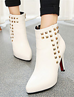 Chaussures Femme - Décontracté - Noir / Rouge / Blanc - Talon Aiguille - Bout Pointu - Bottes - Similicuir