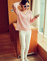 Women's Striped Pink / White / Gray Cardigan , Sexy / Casual Long Sleeve